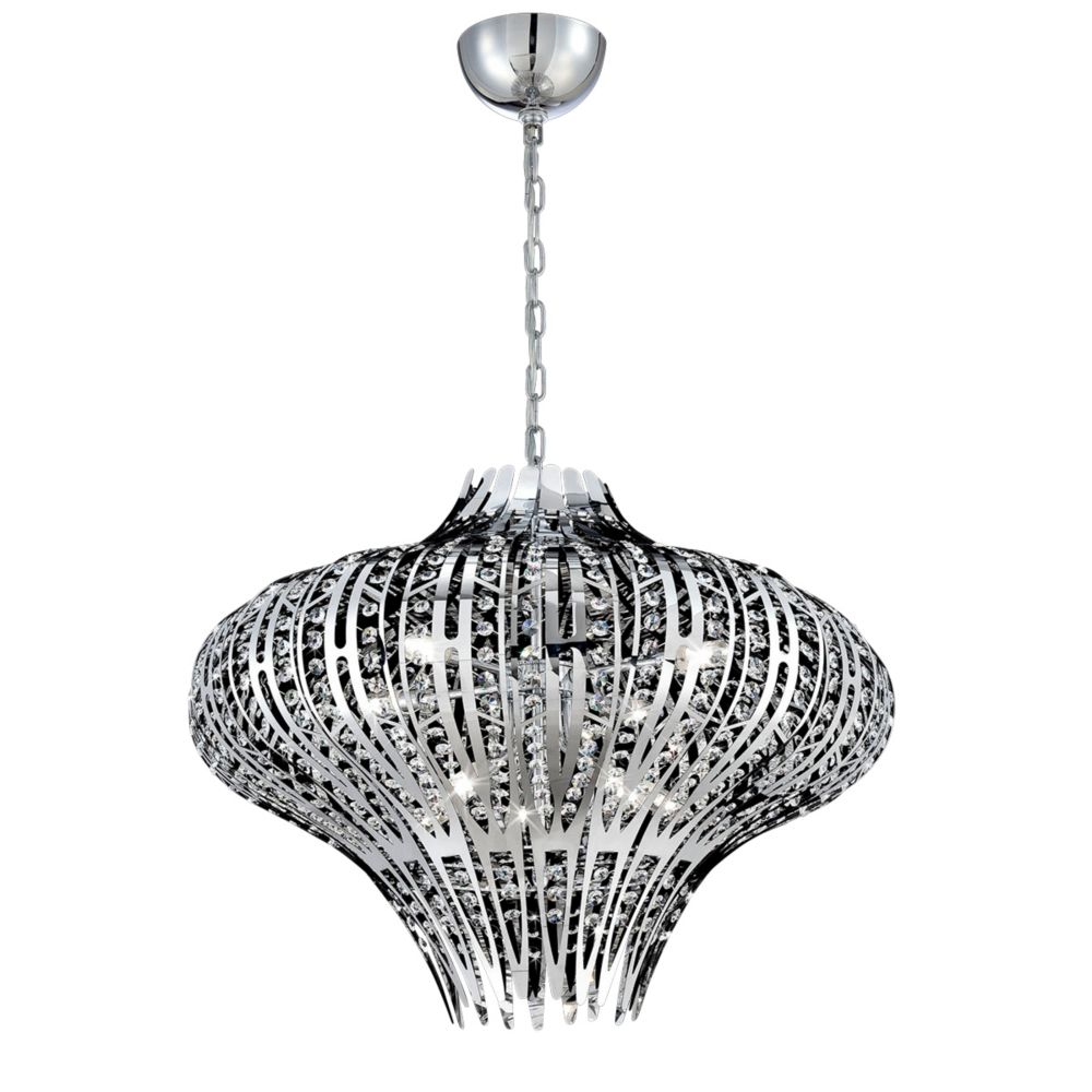 Monica Collection, 9-Light Chrome and Clear Chandelier