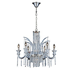 Nava Collection, 11-Light Chrome and Ice Blue Chandelier