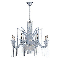 Nava Collection, 14-Light Chrome and Ice Blue Chandelier