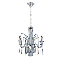 Nava Collection, 7-Light Chrome and Ice Blue Chandelier