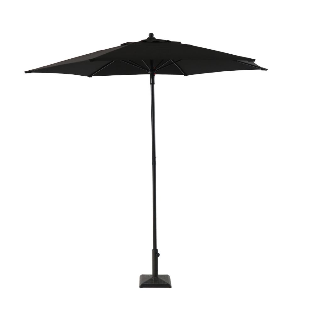 Hampton Bay 7.5 ft. Steel Market Umbrella in Black