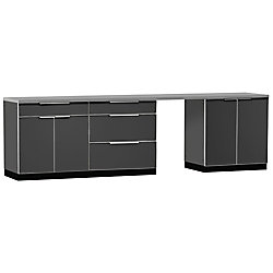NewAge Products Inc. 5-Piece Aluminum Slate Outdoor Kitchen Cabinets with Cover