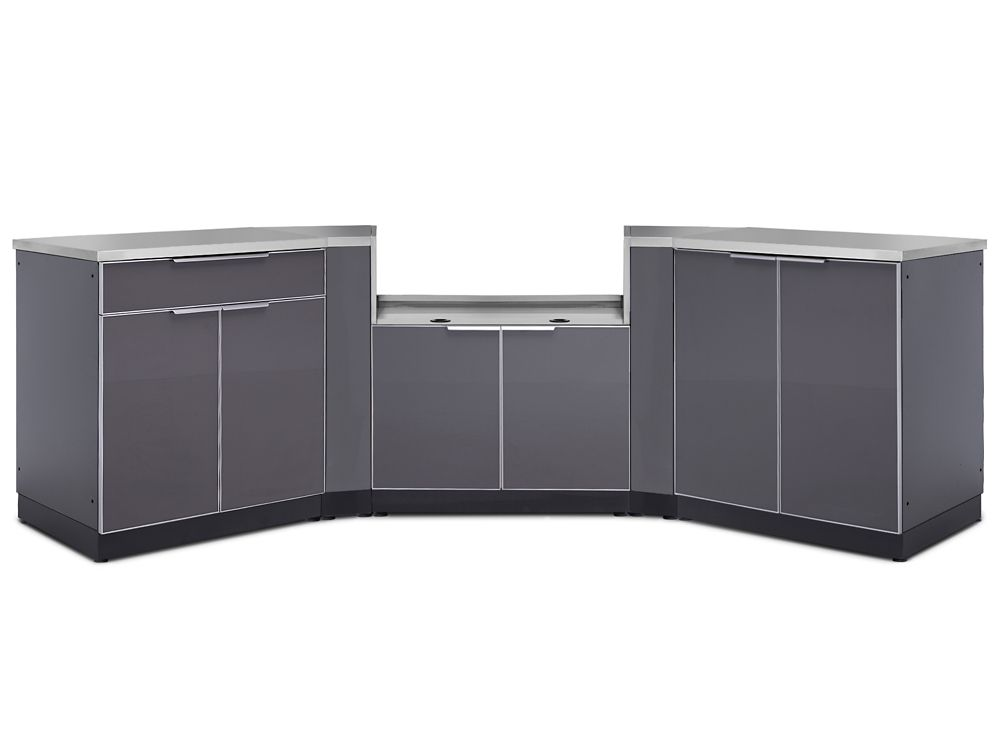 NewAge Products 5-Piece Aluminum Slate Outdoor Kitchen Cabinets with BBQ Cabinet and Cover