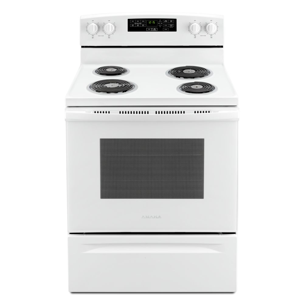 Amana 30-Inch 4.8 cu.ft Single Oven Electric Range with Self-Cleaning in White