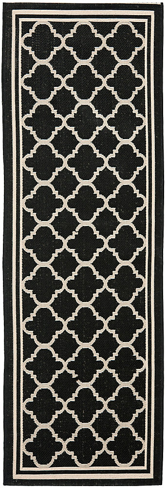 Courtyard Sherry Black / Beige 2 ft. 3 inch x 8 ft. Indoor/Outdoor Runner