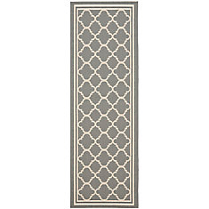 Courtyard Sherry Anthracite / Beige 2 ft. 3 inch x 6 ft. 7 inch Indoor/Outdoor Runner
