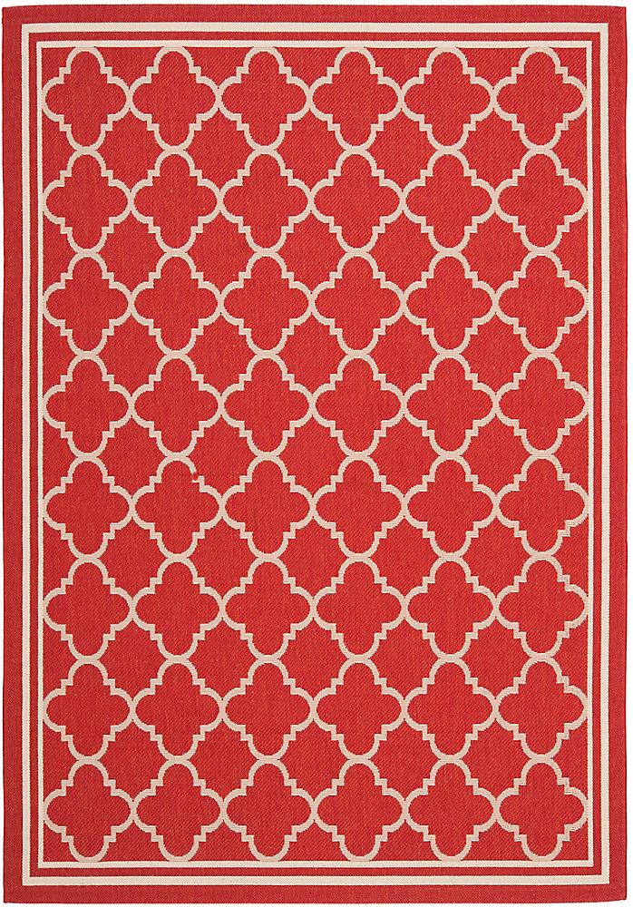 Courtyard Sherry Red / Bone 5 ft. 3 inch x 7 ft. 7 inch Indoor/Outdoor Area Rug