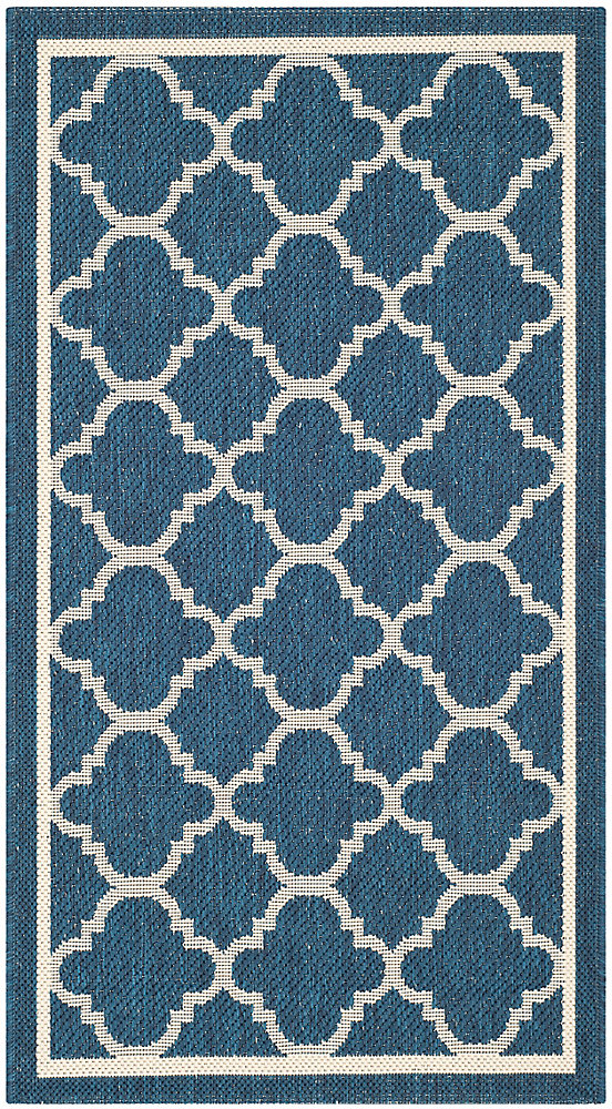 Courtyard Sherry Navy / Beige 4 ft. x 5 ft. 7 inch Indoor/Outdoor Area Rug