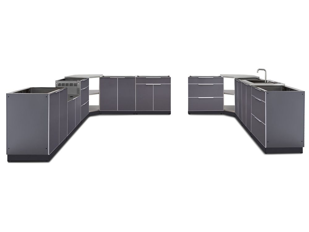 NewAge Products 24-inch D 11-Piece Aluminum Outdoor Kitchen in Slate