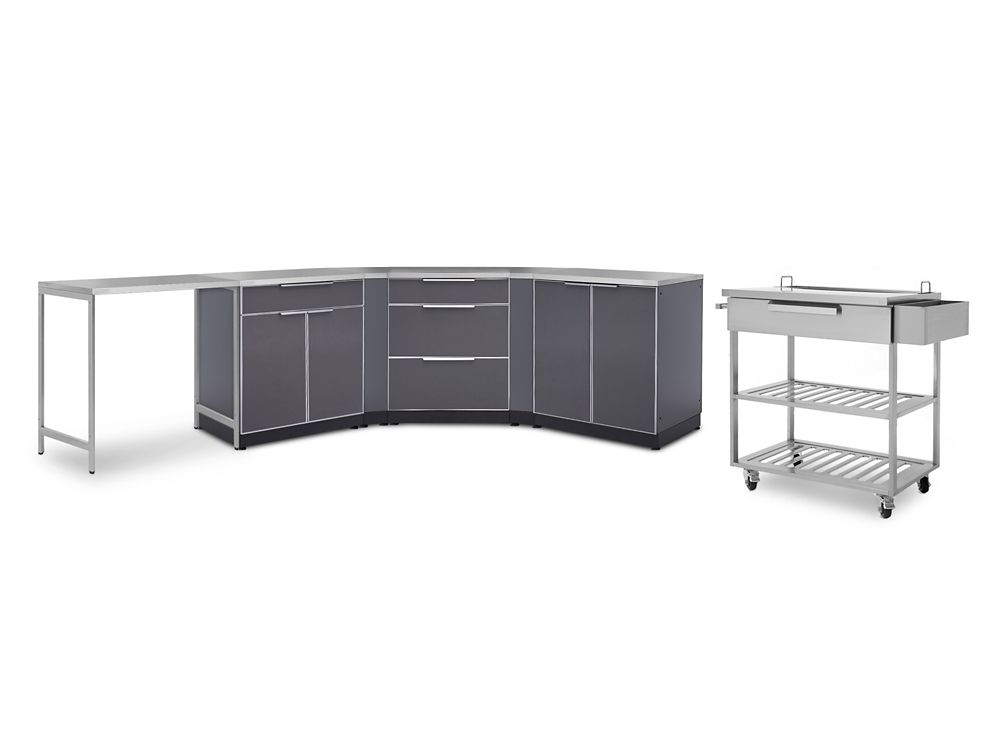 Outdoor Kitchen 210 Inch W x 24 Inch D 10 PC Aluminum Slate