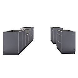 NewAge Products Inc. 5-Piece Aluminum Outdoor Kitchen in Slate (Cabinets Only)