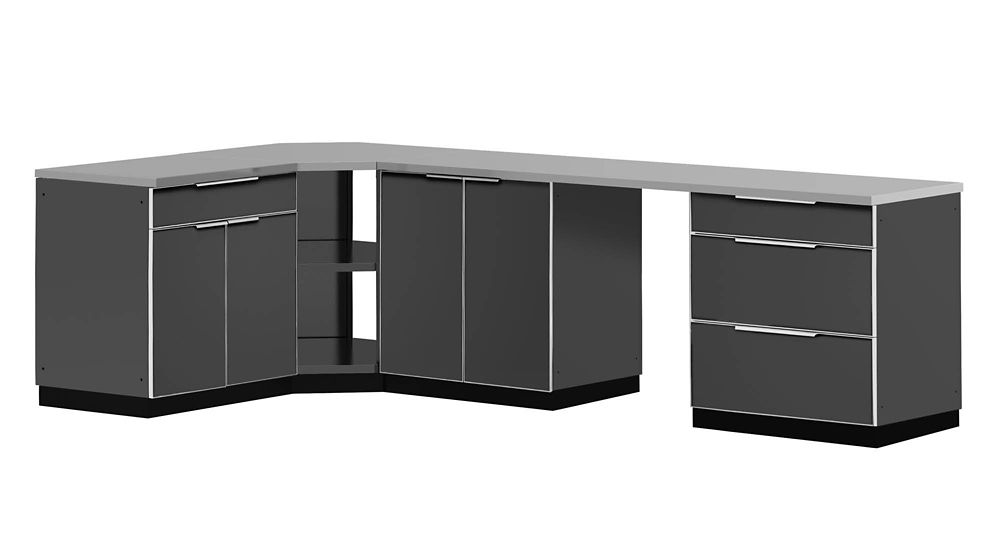 Outdoor Kitchen 184 Inch W x 24 Inch D 6 PC Aluminum Slate