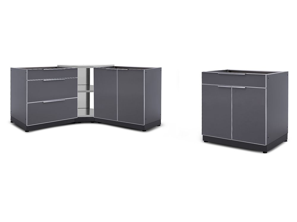 NewAge Products 4-Piece Aluminum Slate Outdoor Kitchen Cabinets with Corner Cabinet