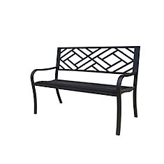 Steel Patio Bench with Geometric Pattern