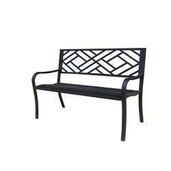 Hampton Bay Steel Patio Bench with Geometric Pattern