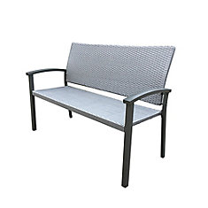 Black Steel and Weathered Grey Wicker Patio Bench