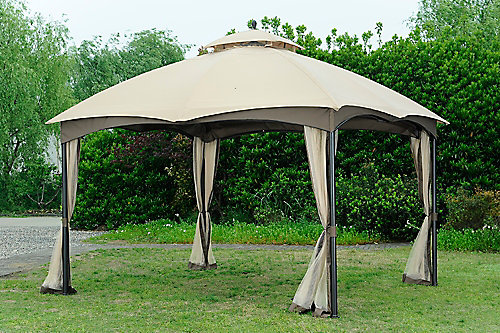 10 Ft X 12 Steel Frame Gazebo With Double Tiered Roof And Mosquito Netting