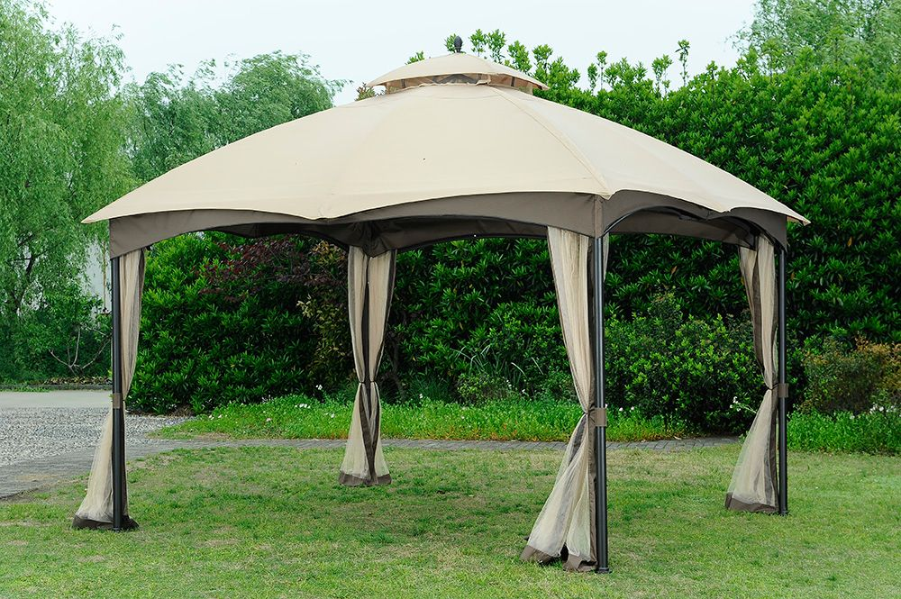 Hampton Bay 10 ft. x 12 ft. Steel Frame Gazebo with Double-Tiered Roof and Mosquito Netting
