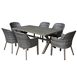Hampton Bay Crown View 7-Piece Two-Tone Grey Wicker & Steel Patio Dining Set with Grey Seat Pad