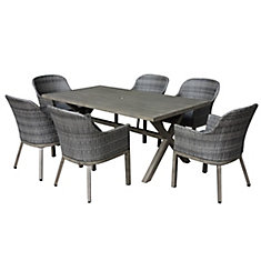 Merveilleux Rectangular 7 Piece Wicker U0026 Steel Dining Patio Set In Two Tone Grey With  Cushions