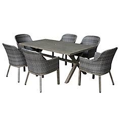 Ensemble de salle à manger pour terrasse en osier et acier gris à 7 tons Crown View avec coussin de siège gris