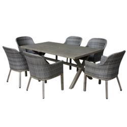 Hampton Bay Crown View 7-Piece Wicker Rectangular Outdoor Patio Dining Set with Grey Cushions