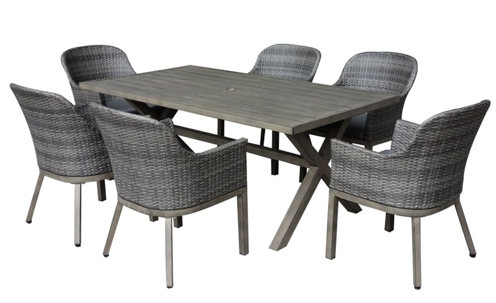 Crown View 7 Piece Two Tone Grey Wicker Steel Patio Set With