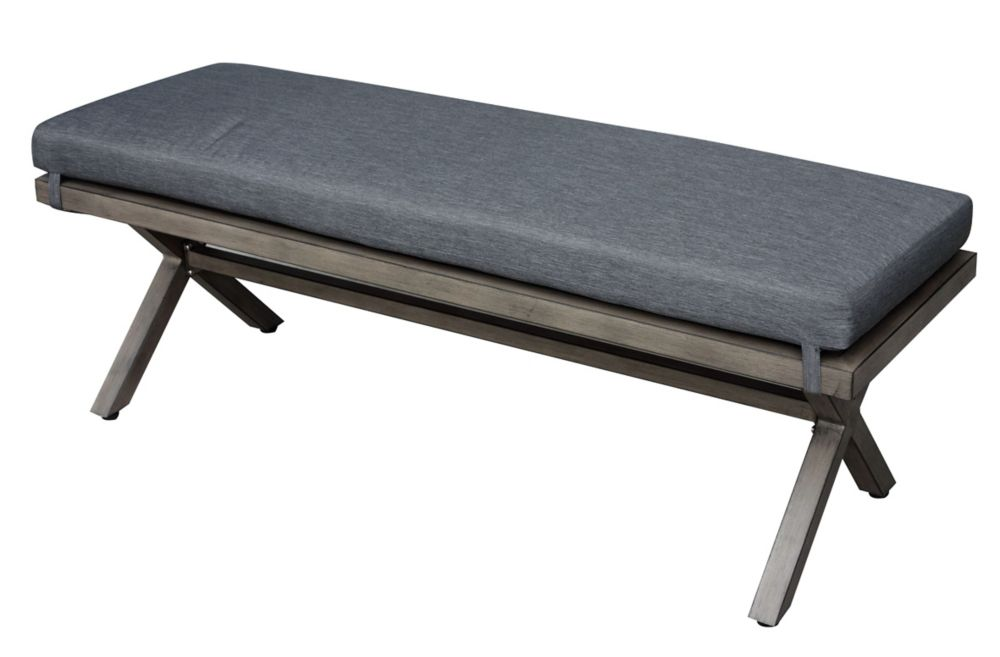 Crown View Steel Patio Dining Bench with Grey Seat Pad