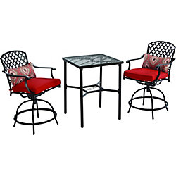 Hampton Bay Kings Square 3-Piece Patio High Bistro Set with Swivel Chairs