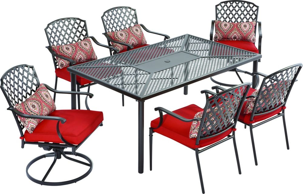 Hampton Bay King's Square 7-Piece Patio Dining Set with Red Cushions