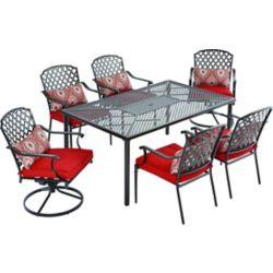 Hampton Bay Ensemble de salle à manger de jardin King Square avec coussins rouges, 7 pièces