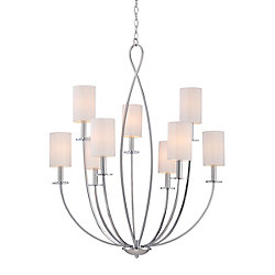 Castana Collection, 9-Light Chrome Chandelier
