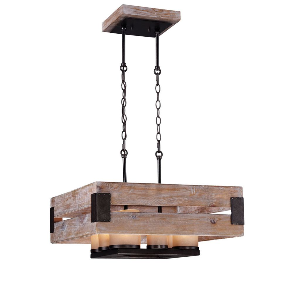 Cesto Collection, 8-Light Wood Square Chandelier