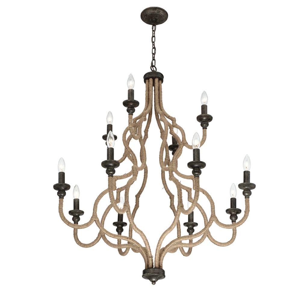 Corda Collection, 12-Light Bronze Chandelier