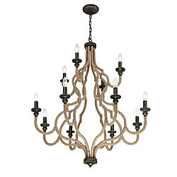 Corda Collection, 12-Light Bronze Chandelier