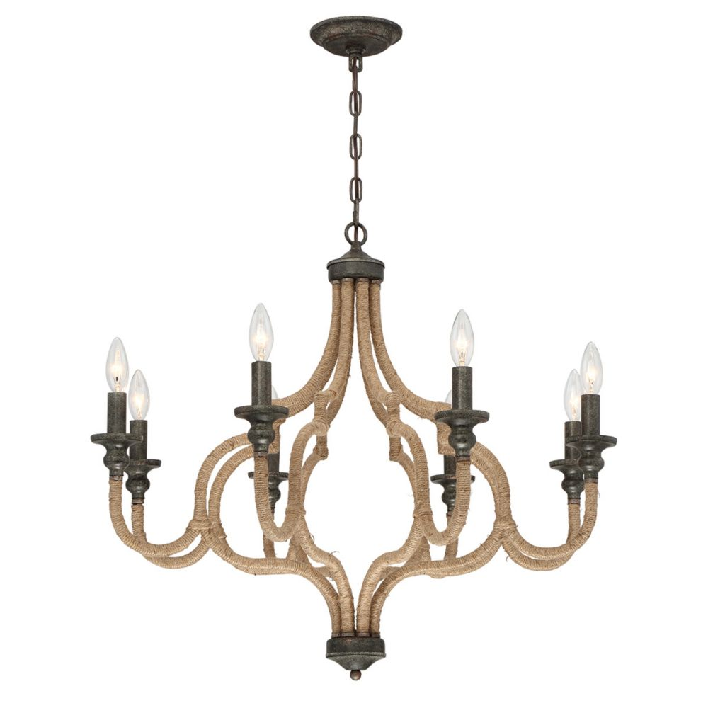 Corda Collection, 8-Light Bronze Chandelier