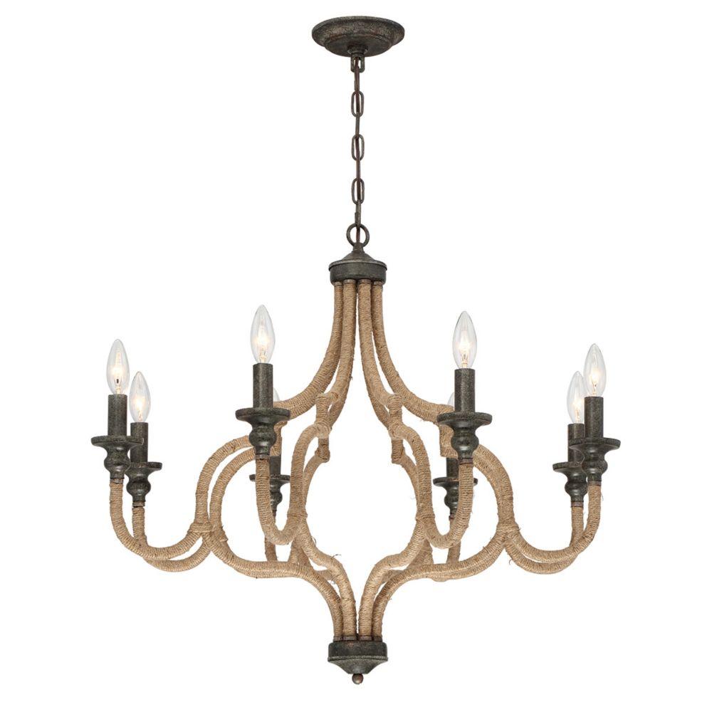 Corda Collection, 8-Light Bronze Chandelier