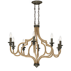 Corda Collection, 8-Light Oval Bronze Chandelier