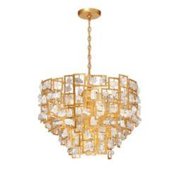 Eurofase Collection Elrose, lustre doré à 9ampoules