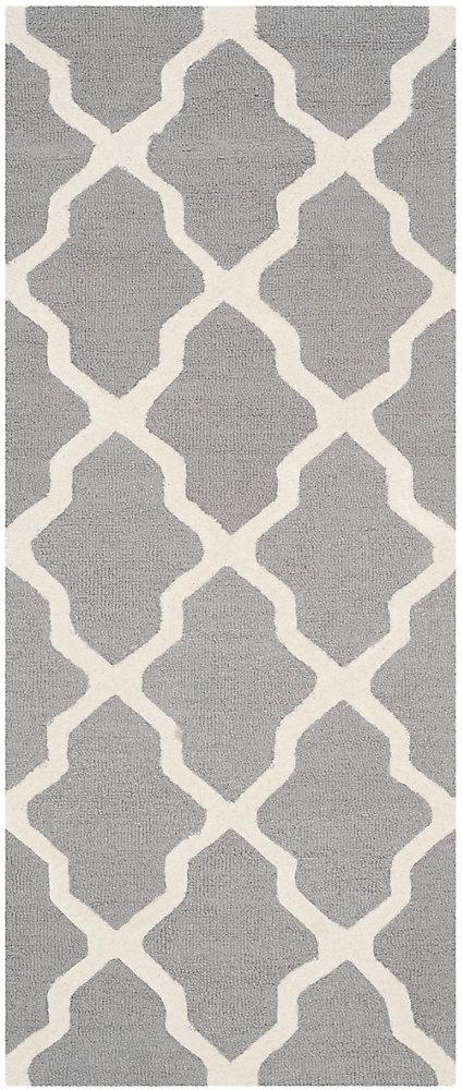 Carpette, 8 pi x 11 pi, rectangulaire, argent Cambridge
