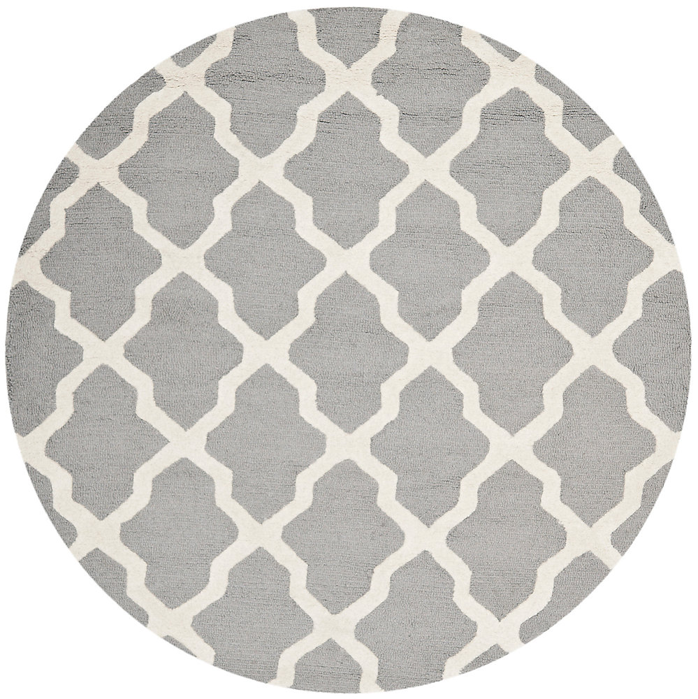 Cambridge Giselle Silver / Ivory 6 ft. x 6 ft. Indoor Round Area Rug