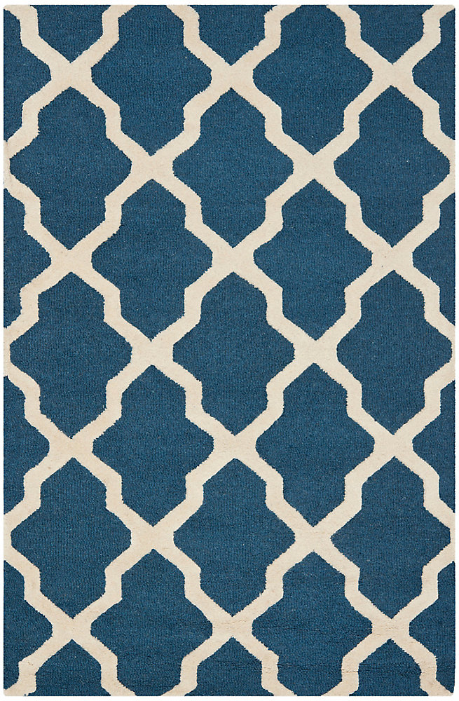 Carpette, 4 pi x 6 pi, rectangulaire, bleu Cambridge