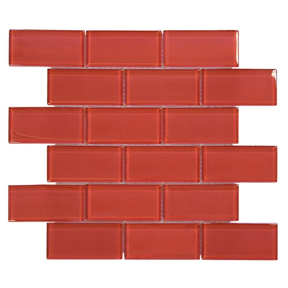 Lipstick 2x4/12 Inch x 12 Inch x 8mm Glass Mosaic Wall Tile