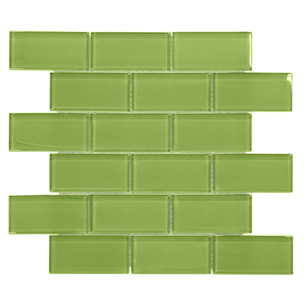 Lime 2x4/12 Inch x 12 Inch x 8mm Glass Mosaic Wall Tile