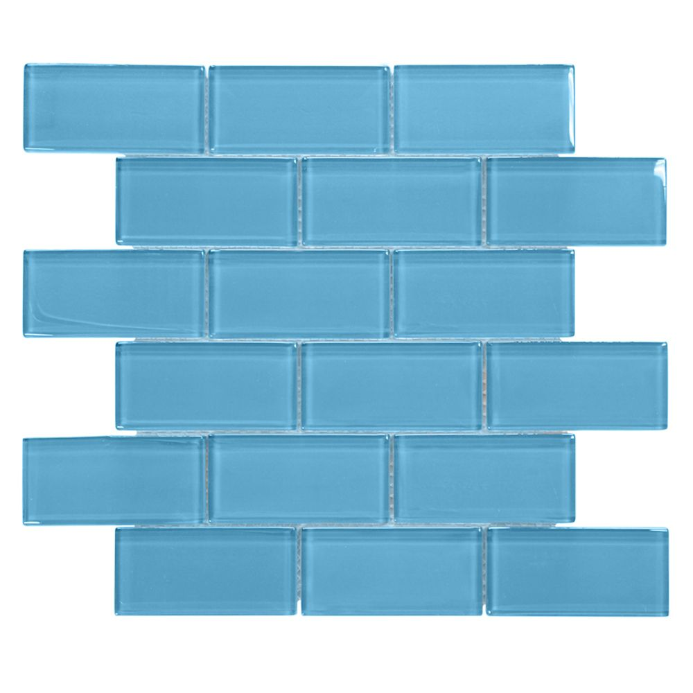 Brick in Blues 2x4/12 Inch x 12 Inch x 8mm Blue Glass Mosaic Wall Tile