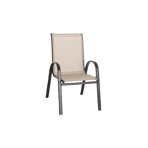 Mix and Match Stackable Sling Outdoor Patio Dining Chair in Cafe