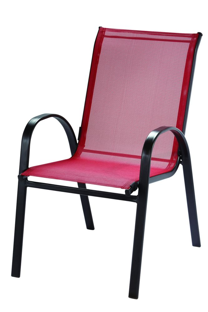 Hampton Bay Steel Patio Sling Stacking Chair in Red | The ...