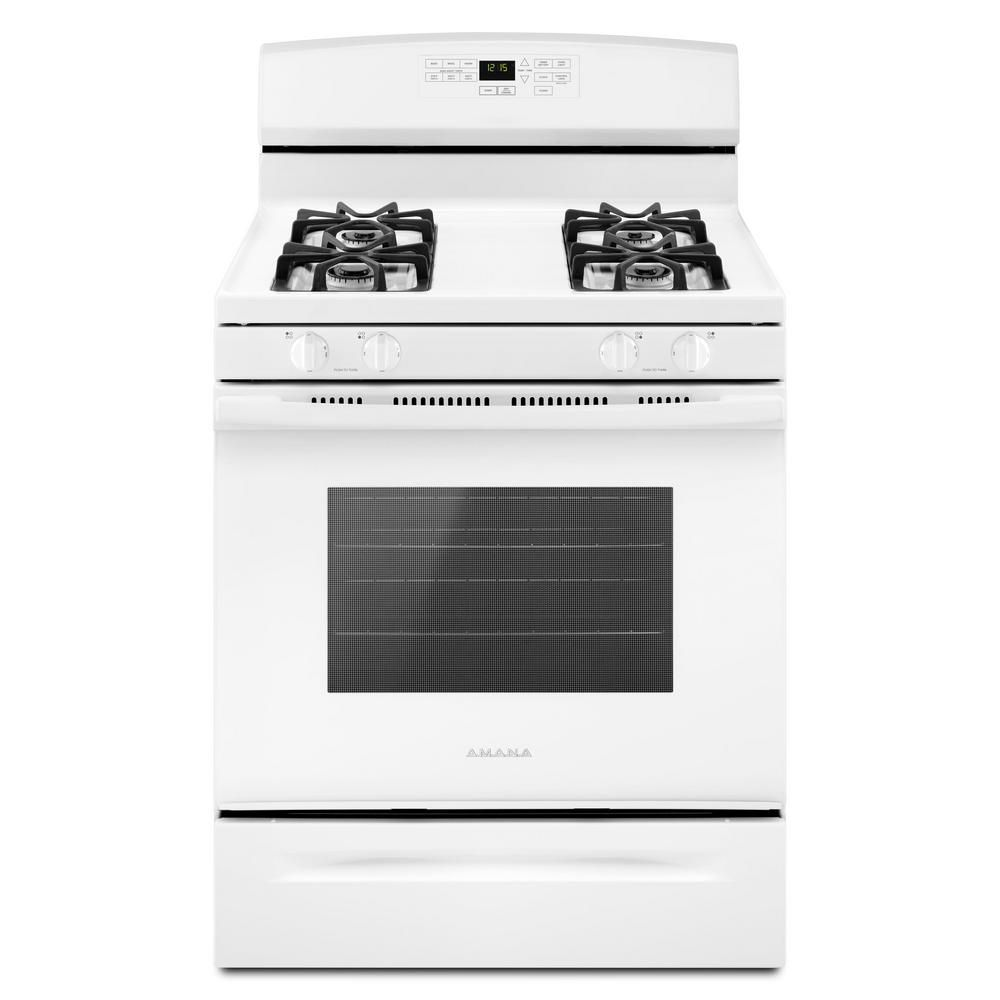 Amana 30-Inch 5.0 cu.ft. Single Oven Gas Range with Self-Cleaning in White