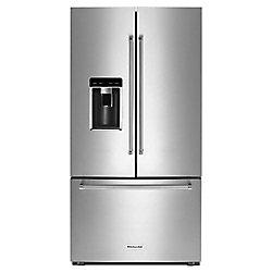 Réfrigérateur à porte française de 36 po W 23,8 pi3 en acier inoxydable avec intérieur en platine, profondeur du comptoir