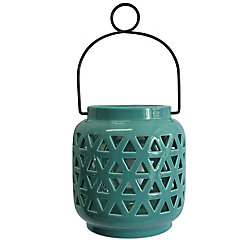 Hampton Bay 6.5-inch Ceramic Lantern in Haze